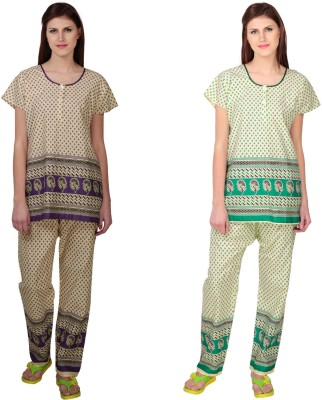 Simrit Women's Printed Purple, Green Top & Pyjama Set