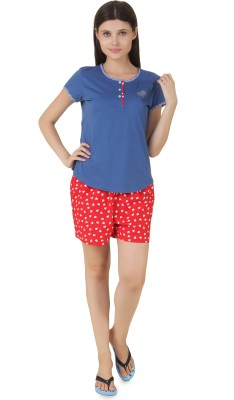 Fragrance Women's Solid Blue Top & Shorts Set