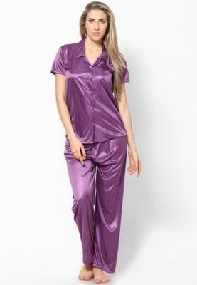 Hautewagon Women's Solid Purple Top & Pyjama Set