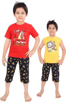 Punkster Boy's Graphic Print Red T-shirt & Three-forth Set