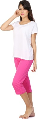 Click Hit Softle Top Payjama set Women's Solid White, Pink T-shirt & Three-forth Set