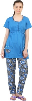 Informal Wear Women's Printed Blue Top & Pyjama Set