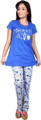 Ruok Women's Printed Blue Top & Pyjama Set