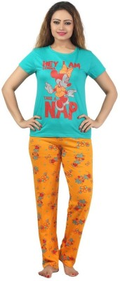 Sunwin Women's Printed Blue, Orange Top & Pyjama Set