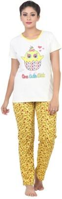Sunwin Women's Printed White, Yellow Top & Pyjama Set