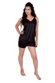 Love Bird Women's Striped Black Top & Shorts Set