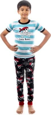 Lazy One Boy's Animal Print White Top & Pyjama Set