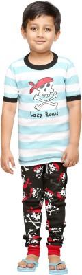 Lazy One Boy's Printed White Top & Pyjama Set