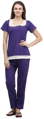 Klamotten Women's Solid Purple Top & Pyjama Set