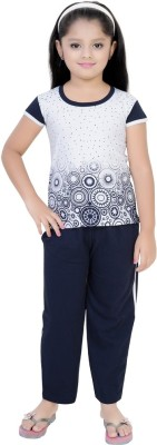 Be 13 Girl's Self Design Blue Top & Pyjama Set