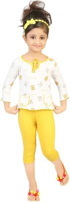 Koolkids Baby Girl's Printed Yellow Top & Pyjama Set