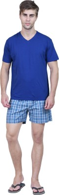 Habitude Men's Solid, Checkered Dark Blue Top & Shorts Set
