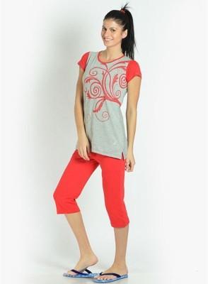 LLO Fashions Women's Printed Red Top & Capri Set