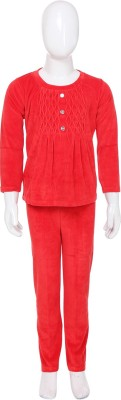 She N She Plain Charm Girl's Solid Red Top & Pyjama Set