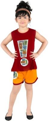 Bella & Brat Girl's Printed Red, Orange Top & Shorts Set
