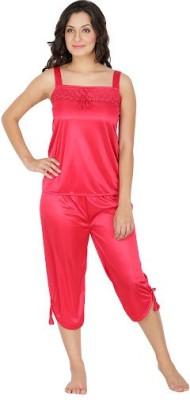 Klamotten Women's Solid Red Top & Capri Set