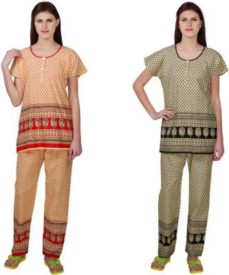 Simrit Women's Printed Red, Black Top & Pyjama Set