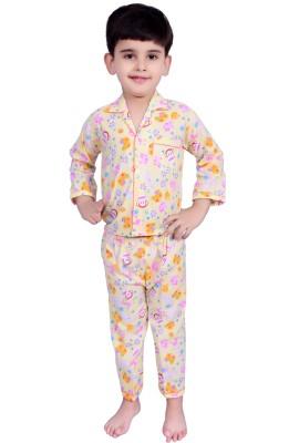 Kingstar Boy's Printed Yellow Top & Pyjama Set