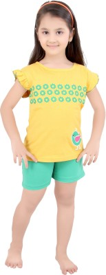 Punkster Girl's Graphic Print Yellow Top & Shorts Set