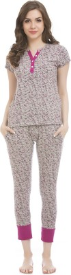 Clovia Women's Printed Grey Top & Pyjama Set