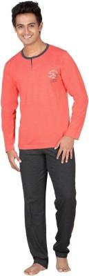 Inter Creation Men's Solid Red Top & Pyjama Set