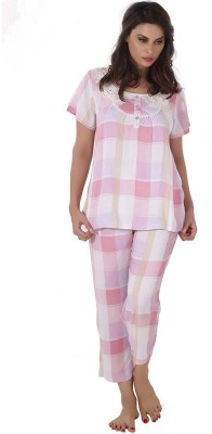 Shyle Women's Striped Pink Top & Pyjama Set