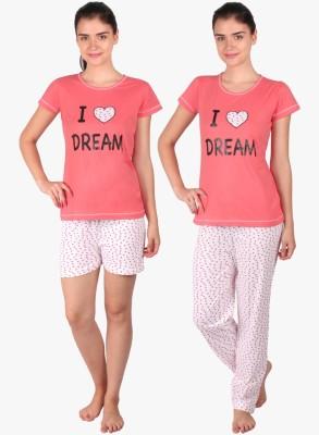 Lazy Dazy Women's Applique, Printed Orange, White Top, Pyjama & Shorts Set