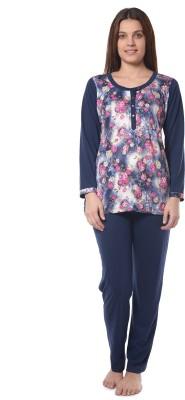Squirrel Women's Printed Dark Blue Top & Pyjama Set