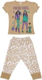 Dear Kids Kids Nightwear Girls Printed Cotton(Beige Pack of 1)