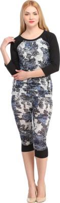 Cottinfab Women's Printed Blue, Multicolor Top & Capri Set