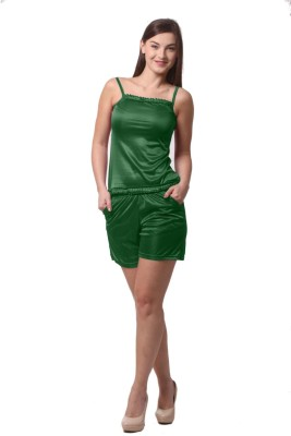 Being Fab Women,s Solid Green Top & Shorts Set