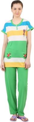 Informal Wear Women's Striped Multicolor Top & Pyjama Set