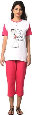 Elite Women's Printed White, Pink Top & Capri Set