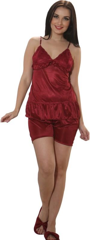 Clovia Set of 2 Pc Satin Nightwear Women's Solid Maroon Top & Shorts Set