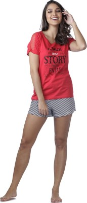 Heart 2 Heart Women's Printed Red Top & Shorts Set