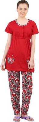 Informal Wear Women's Printed Red Top & Pyjama Set
