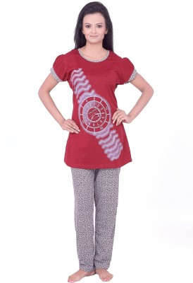 Teleno Women's Geometric Print, Solid Red Top & Pyjama Set