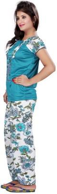 FDT Women's Floral Print Green Top & Pyjama Set