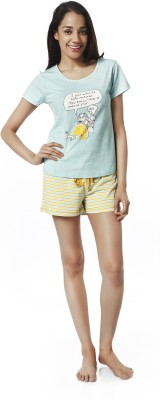 Mystere Paris Women's Printed Blue, Yellow Top & Shorts Set
