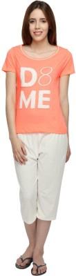 Slumber Jill Women's Graphic Print Orange T-shirt & Three-forth Set