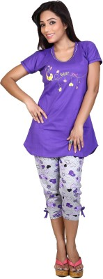F FASHIONSTYLUS Women's Solid Purple Top & Capri Set