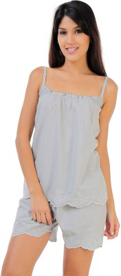 Penny by Zivame Women,s Solid Grey Top & Shorts Set