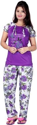MAHAARANI Women's Printed Purple Top & Pyjama Set