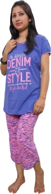 Indiatrendzs Women's Printed Purple, Pink Top, Capri & Shorts Set