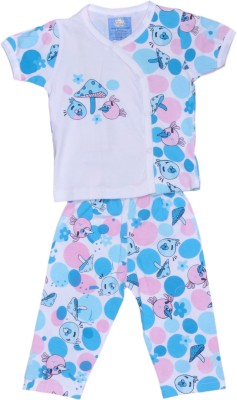 Johny Johny Yes Papa Baby Boy,s Self Design Blue, Pink, White Top & Pyjama Set