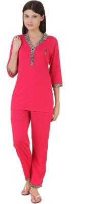 Fragrance Women's Solid Pink Top & Pyjama Set