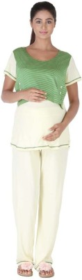 Morph Maternity Women's Solid Green Top & Pyjama Set