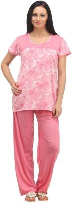 Klamotten Women's Floral Print Pink Top & Pyjama Set