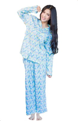 Josilins Women's Printed Blue Top & Pyjama Set