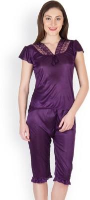 Oleva Women's Self Design Purple Top & Capri Set
